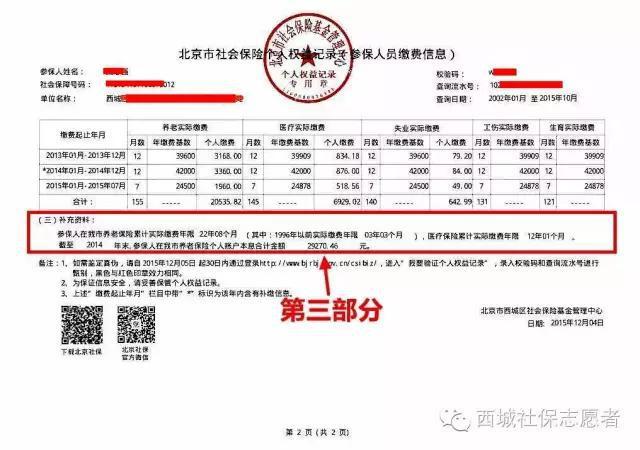 10分钟教你看懂社保权益记录(北京)